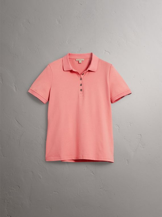 Check Trim Stretch Cotton Piqué Polo Shirt in Carnation Pink - Women | Burberry Canada - cell image 3
