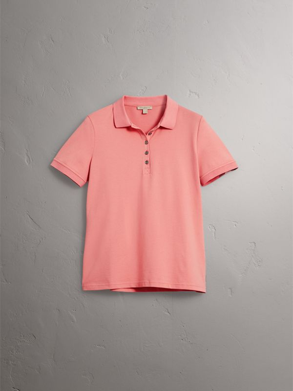 Check Trim Stretch Cotton Piqué Polo Shirt in Carnation Pink - Women | Burberry - cell image 3