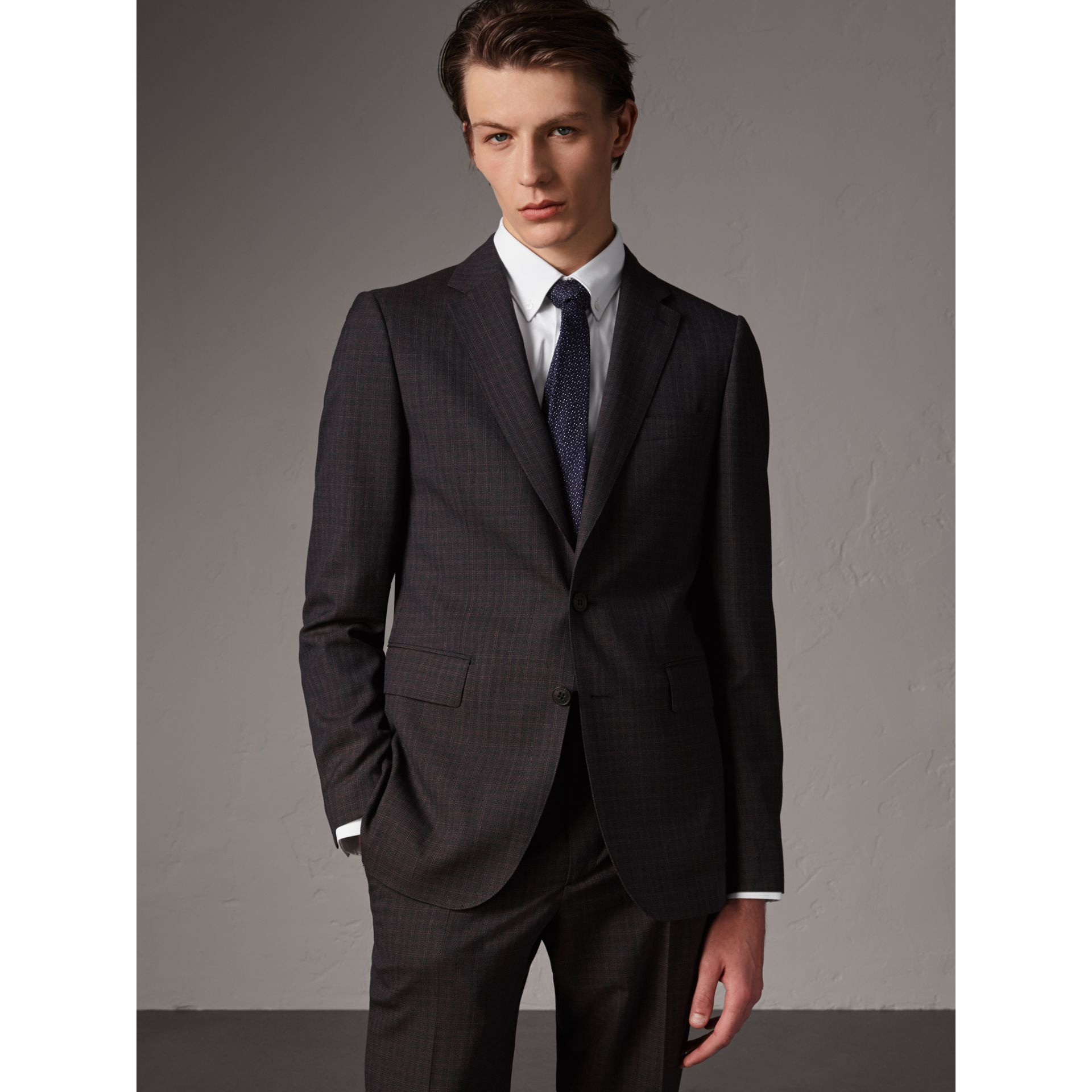 Soho Fit Check Wool Suit in Blackcurrant - Men | Burberry United Kingdom - gallery image 6