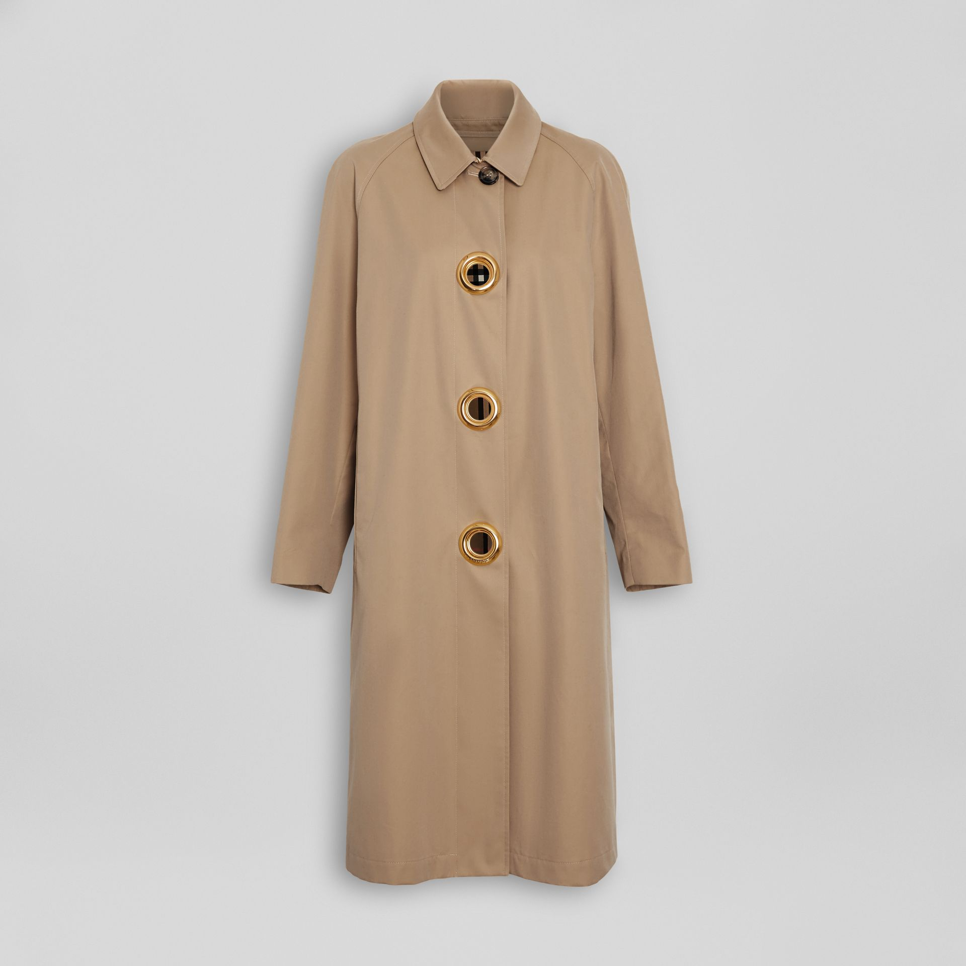 Grommet Detail Cotton Gabardine Car Coat in Honey - Women | Burberry - gallery image 3