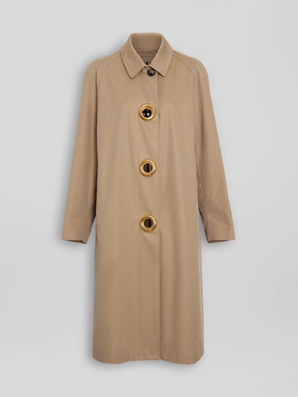 Car coat in gabardine di cotone con occhielli (Miele) - Donna | Burberry - cell image 3