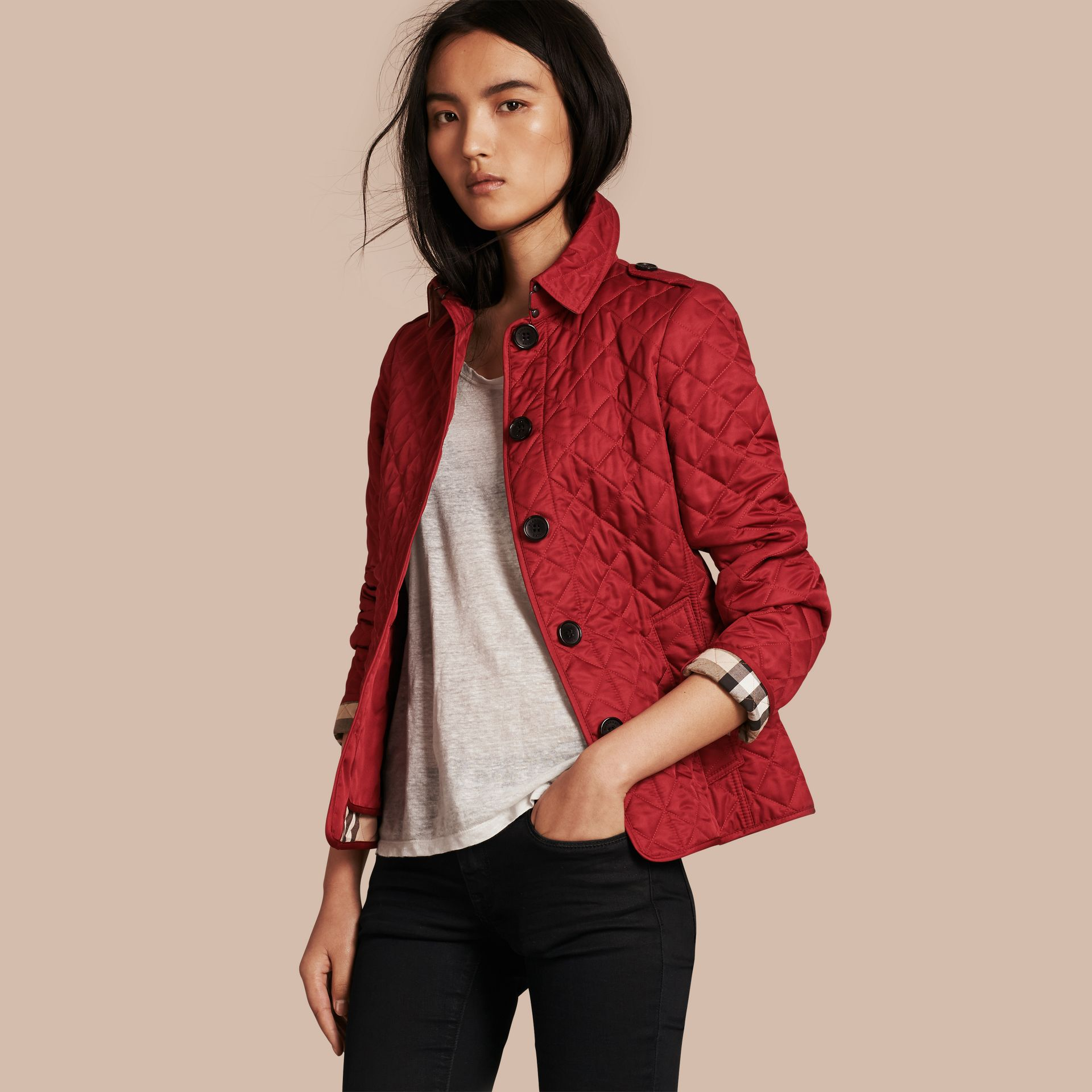 Diamond Quilted Jacket Parade Red - gallery image 1