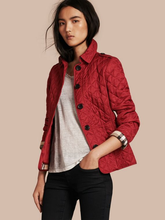 Diamond Quilted Jacket Parade Red