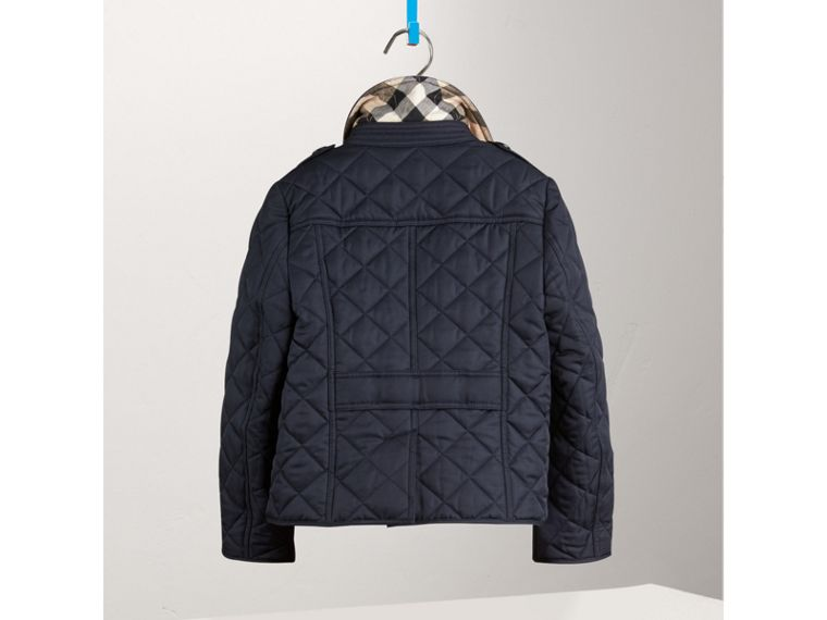 Check Lined Diamond Quilted Jacket in Navy - Girl | Burberry - cell image 2