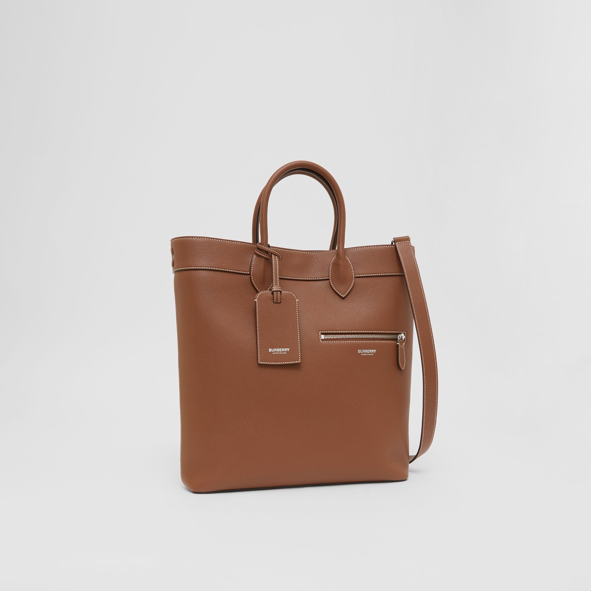 Grainy Leather Tote in Tan | Burberry - gallery image 8