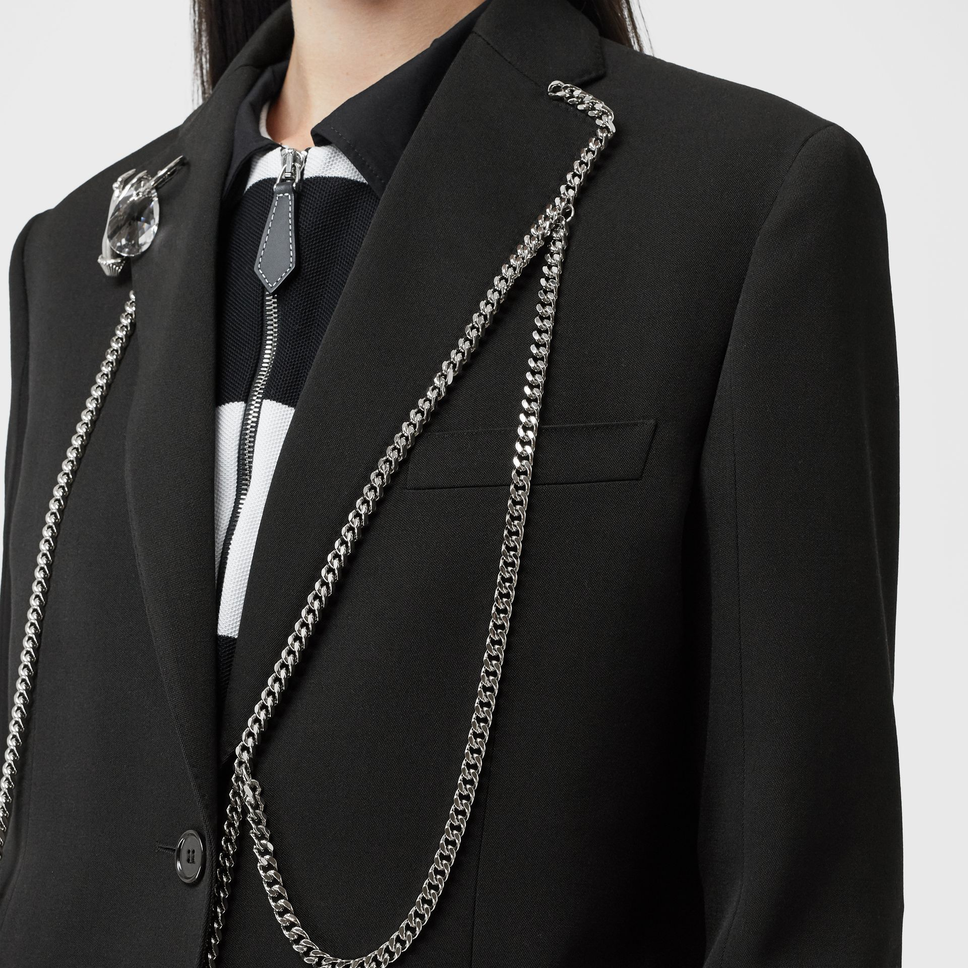 Chain Detail Wool Blazer in Black - Women | Burberry - gallery image 4