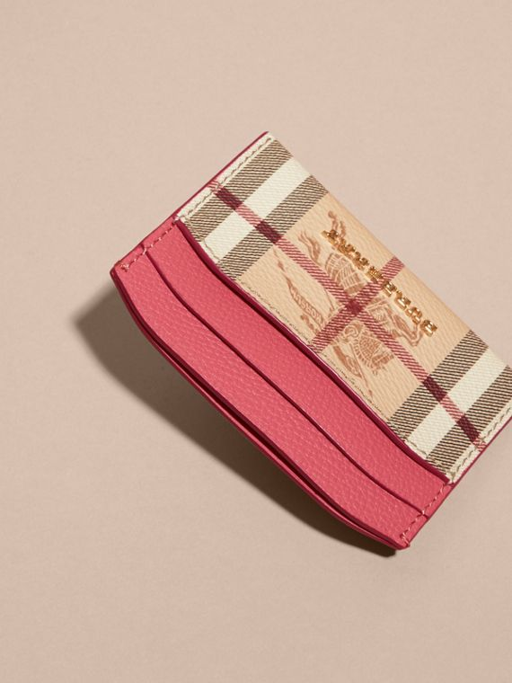 Haymarket Check and Leather Card Case in Plum Pink - Women | Burberry - cell image 2