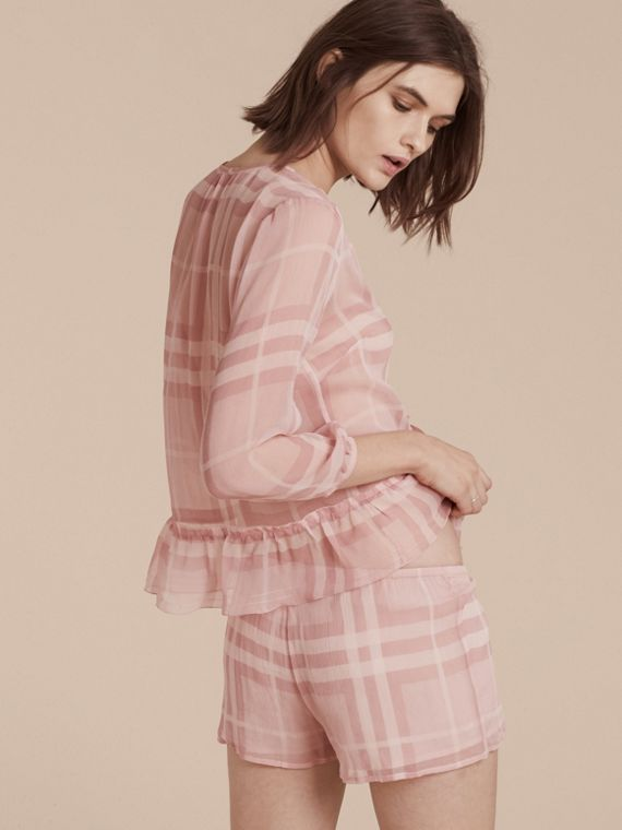 Pale pink Tonal Check Ruffle Detail Silk Crepon Top Pale Pink - cell image 2
