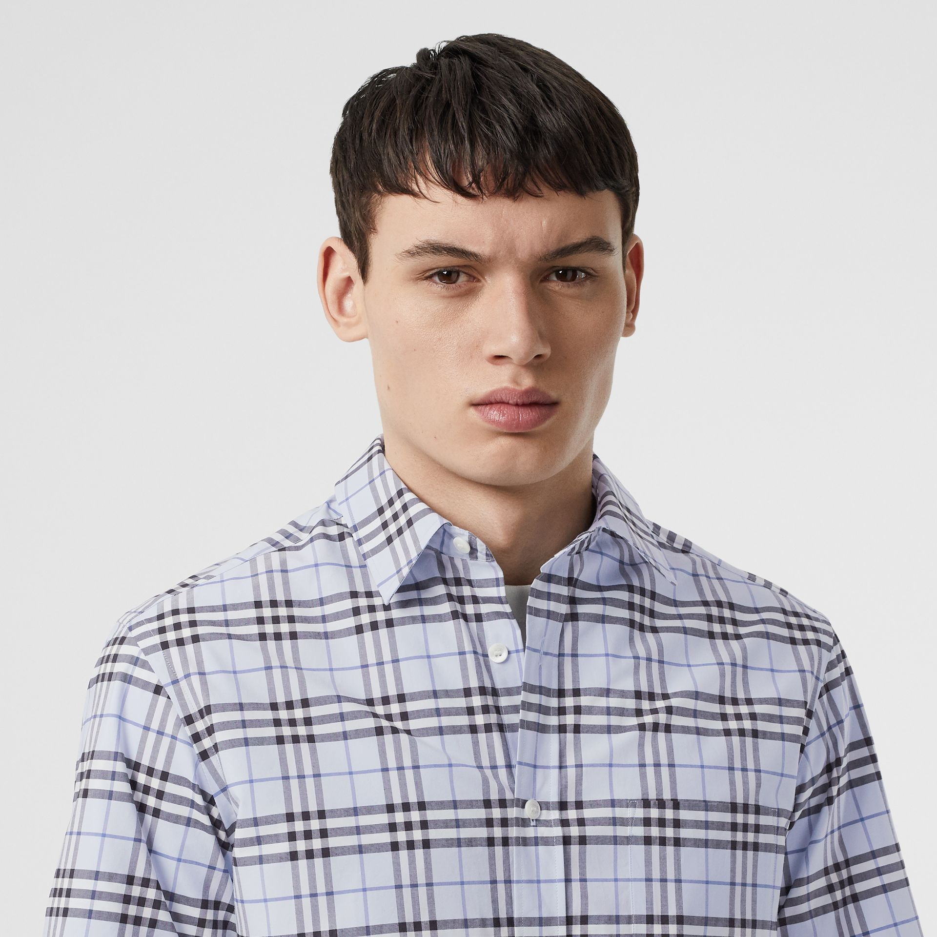 Short-sleeve Check Stretch Cotton Shirt in Sky Blue - Men | Burberry United Kingdom - gallery image 1