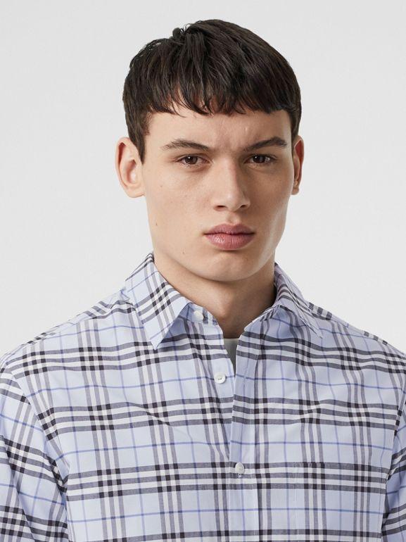 Short-sleeve Check Stretch Cotton Shirt in Sky Blue - Men | Burberry - cell image 1