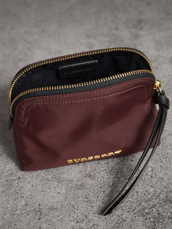 Small Zip-top Technical Nylon Pouch in Burgundy Red - Women | Burberry - cell image 3