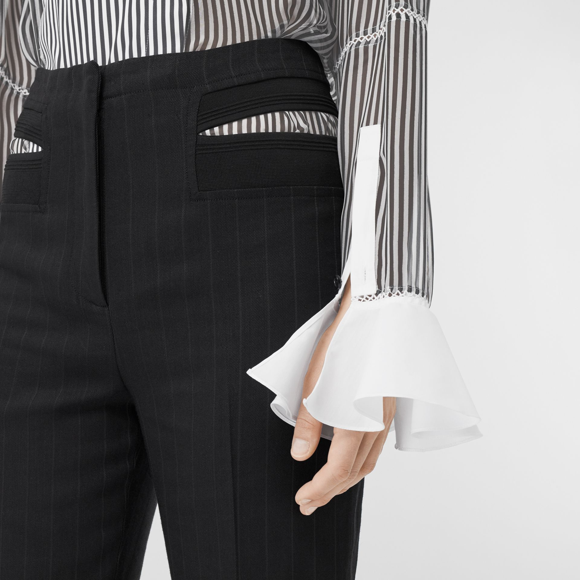 Ruffle Detail Striped Silk Chiffon Shirt in Black - Women | Burberry - gallery image 1