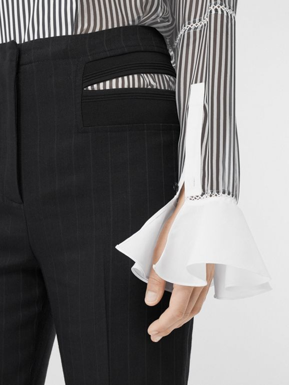 Ruffle Detail Striped Silk Chiffon Shirt in Black - Women | Burberry - cell image 1