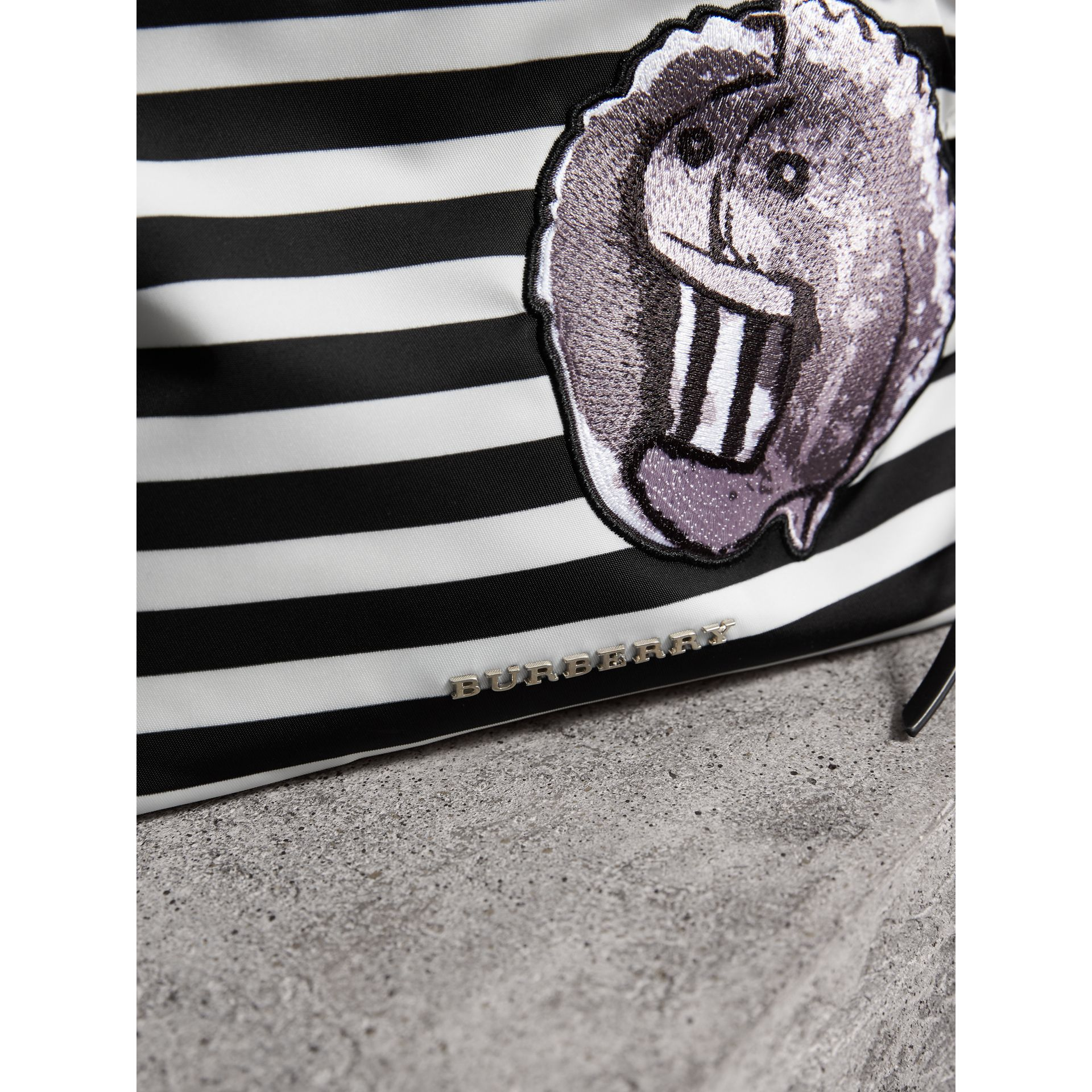 Large Striped Pouch with Pallas Heads Appliqué in Black/white - Women | Burberry United States - gallery image 2