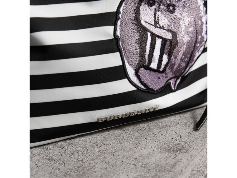 Large Striped Pouch with Pallas Heads Appliqué in Black/white - Women | Burberry - cell image 1