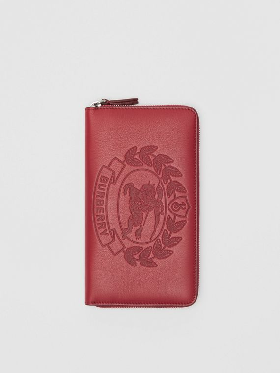Embossed Crest Leather Ziparound Wallet in Crimson