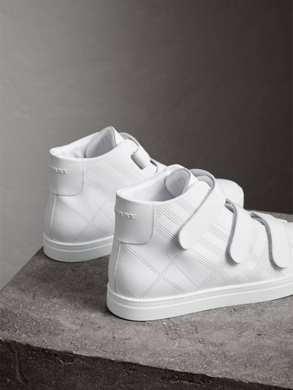 Perforated Check Leather High-top Sneakers in Optic White - Men | Burberry Australia - cell image 3