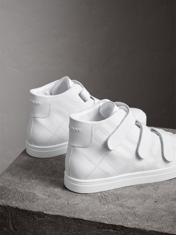 Perforated Check Leather High-top Sneakers in Optic White - Men | Burberry United States - cell image 3