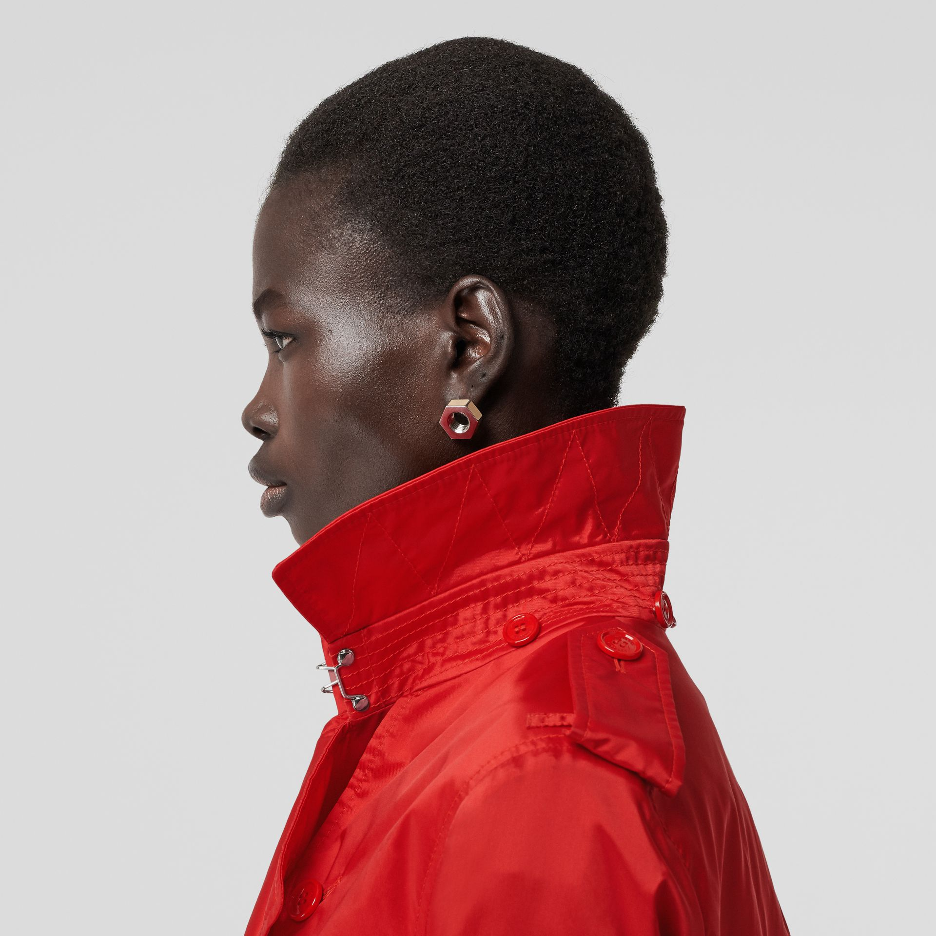 Detachable Hood ECONYL® Trench Coat in Bright Red - Women | Burberry United Kingdom - gallery image 1