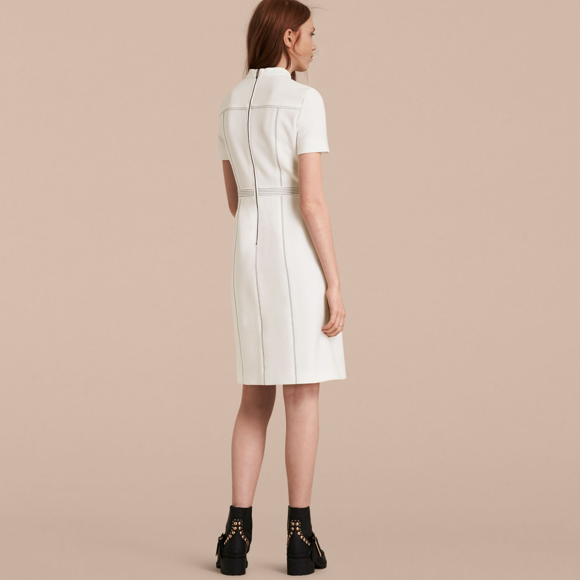 Natural white Topstitch Detail Shift Dress - gallery image 3