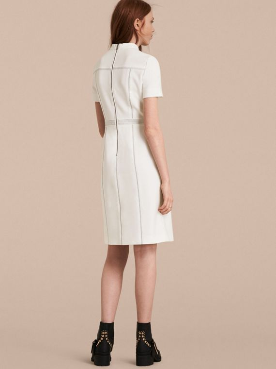 Natural white Topstitch Detail Shift Dress - cell image 2