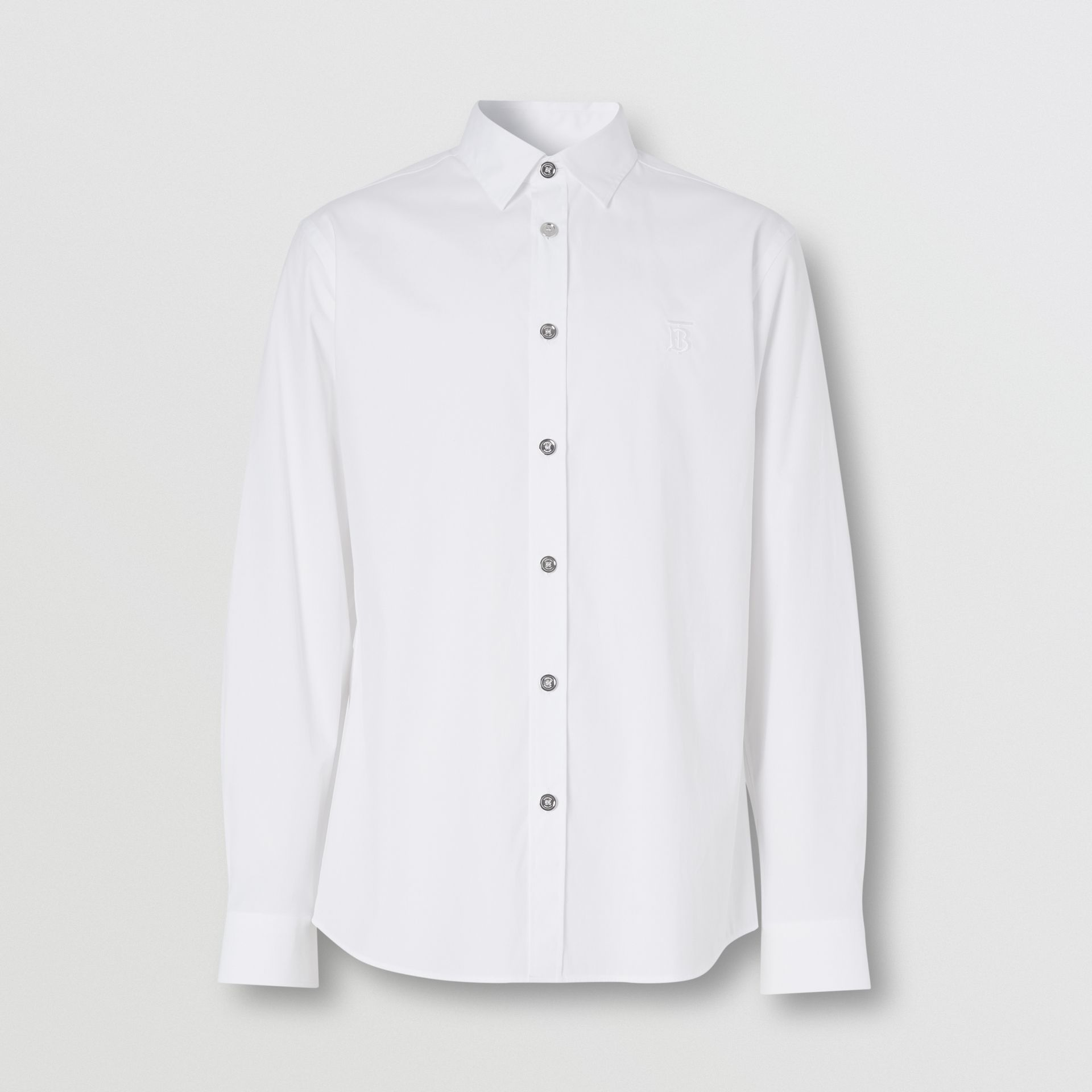 Monogram Motif Stretch Cotton Poplin Shirt in White - Men | Burberry - gallery image 3