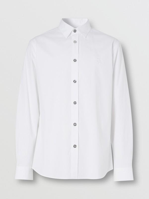 Monogram Motif Stretch Cotton Poplin Shirt in White - Men | Burberry - cell image 3