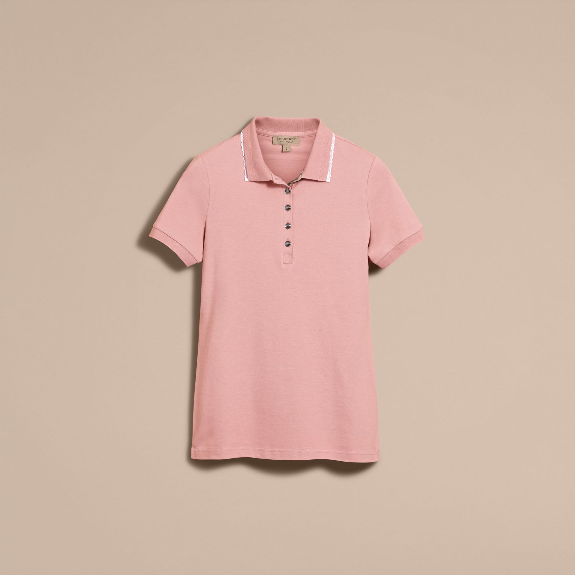Lace Trim Cotton Blend Polo Shirt with Check Detail in Nude - Women | Burberry - gallery image 4