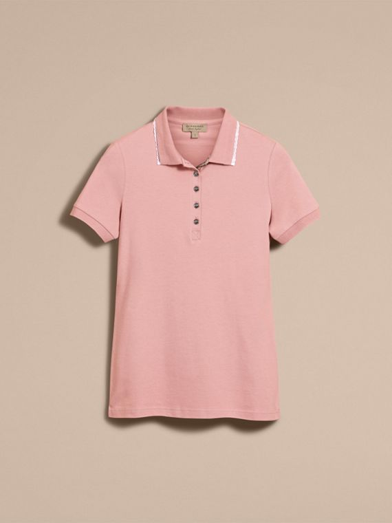 Lace Trim Cotton Blend Polo Shirt with Check Detail in Nude - Women | Burberry - cell image 3