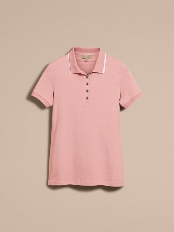 Camisa polo de algodão com detalhe de renda e xadrez (Nude) - Mulheres | Burberry - cell image 3