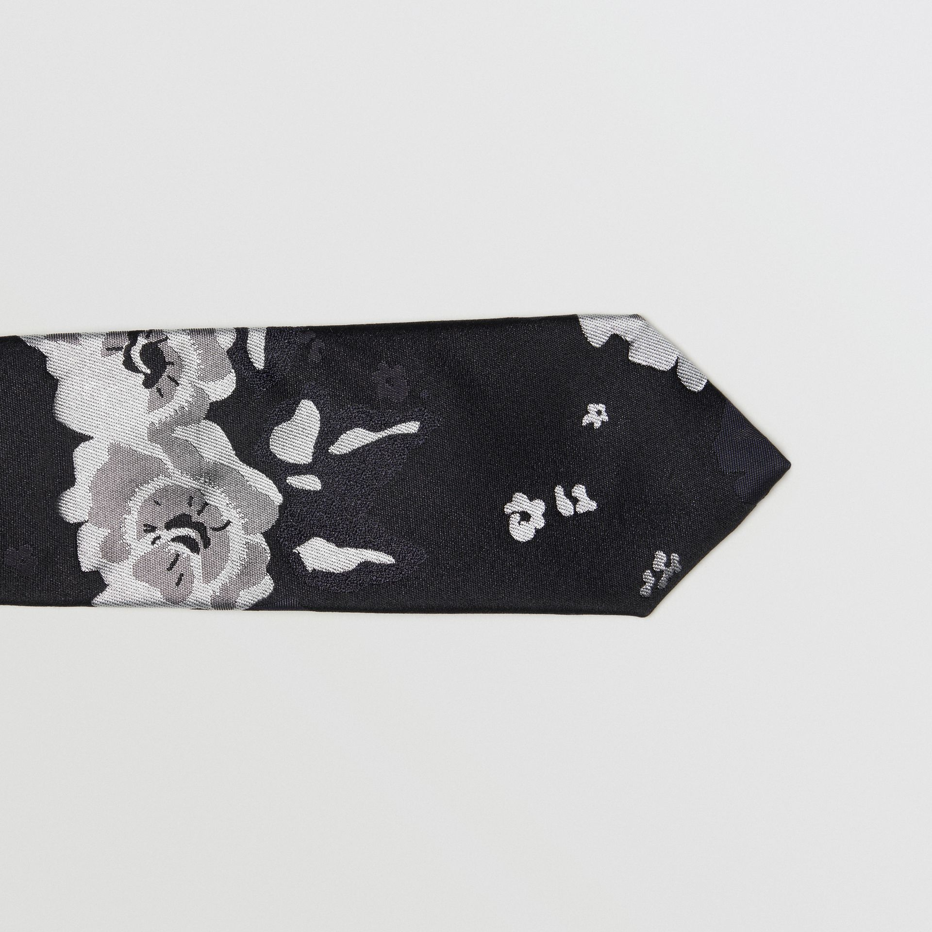 Slim Cut Floral Silk Tie in Black - Men | Burberry United Kingdom - gallery image 1