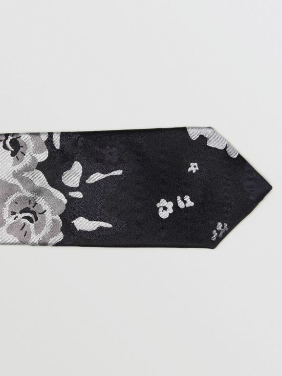 Slim Cut Floral Silk Tie in Black - Men | Burberry - cell image 1