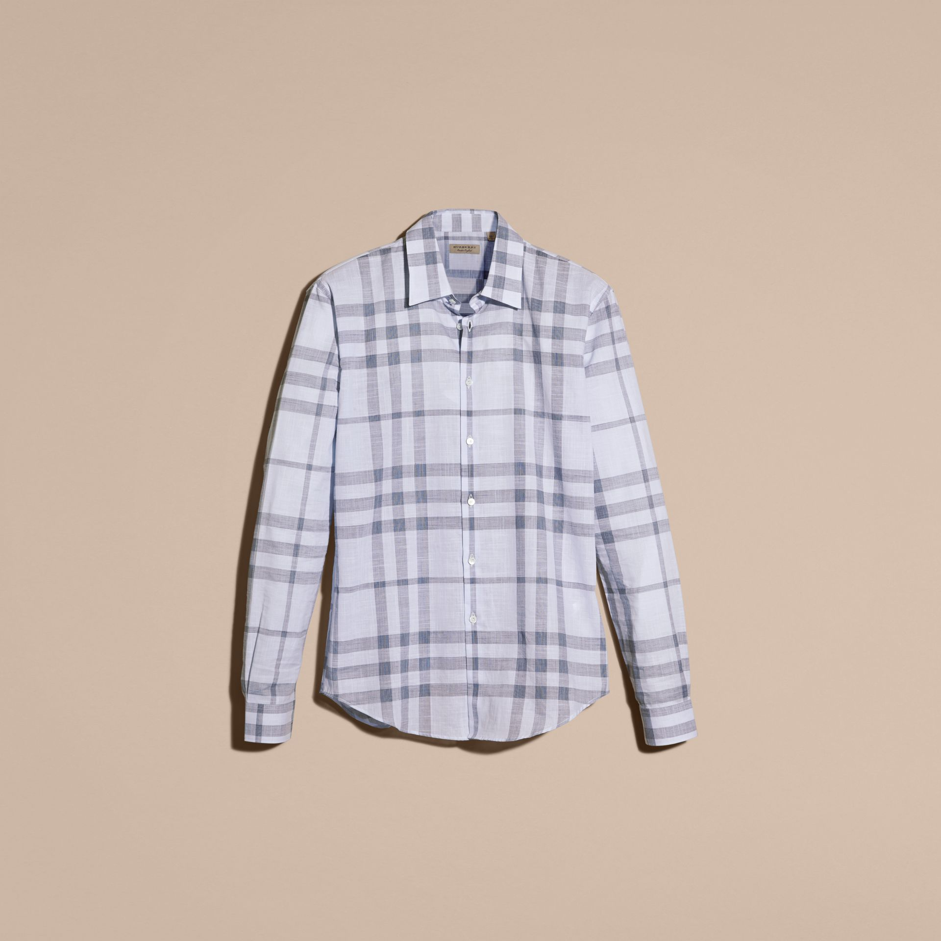 Mineral blue Check Cotton Chambray Shirt Mineral Blue - gallery image 4