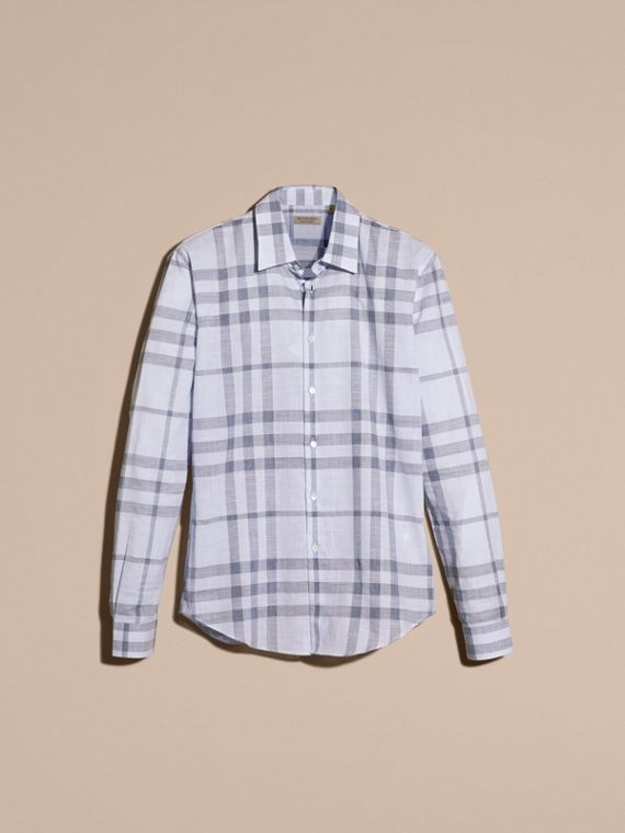 Mineral blue Check Cotton Chambray Shirt Mineral Blue - cell image 3