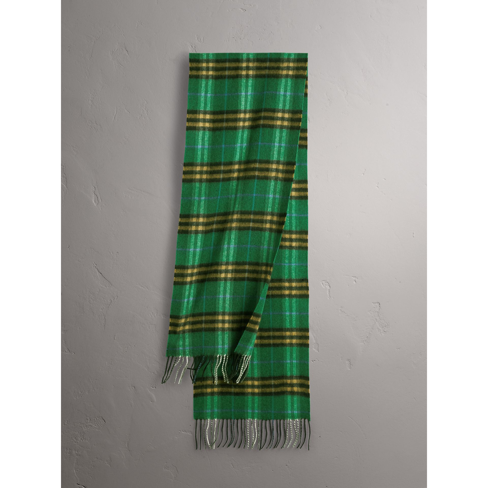 Check Cashmere Scarf in Forest Green | Burberry United Kingdom - gallery image 1