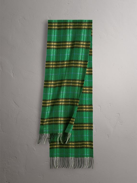 Check Cashmere Scarf in Forest Green | Burberry Canada