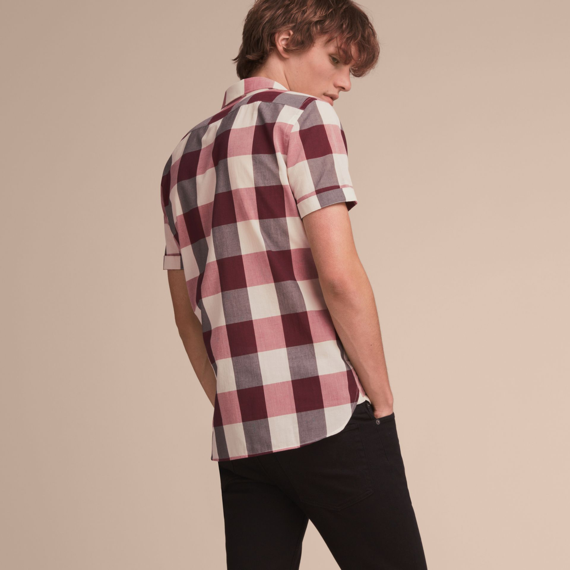 Short-sleeved Exploded Gingham Cotton Linen Shirt Plum Pink - gallery image 3