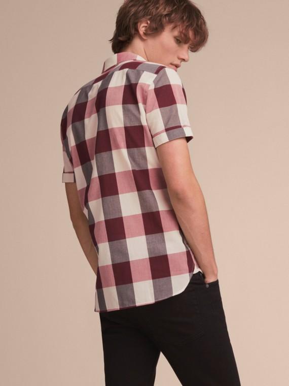 Short-sleeved Exploded Gingham Cotton Linen Shirt Plum Pink - cell image 2