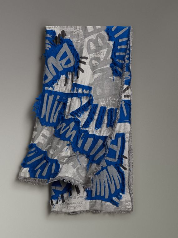 Graffiti Print Fil Coupé Cotton Wool Modal Scarf in Cobalt Blue