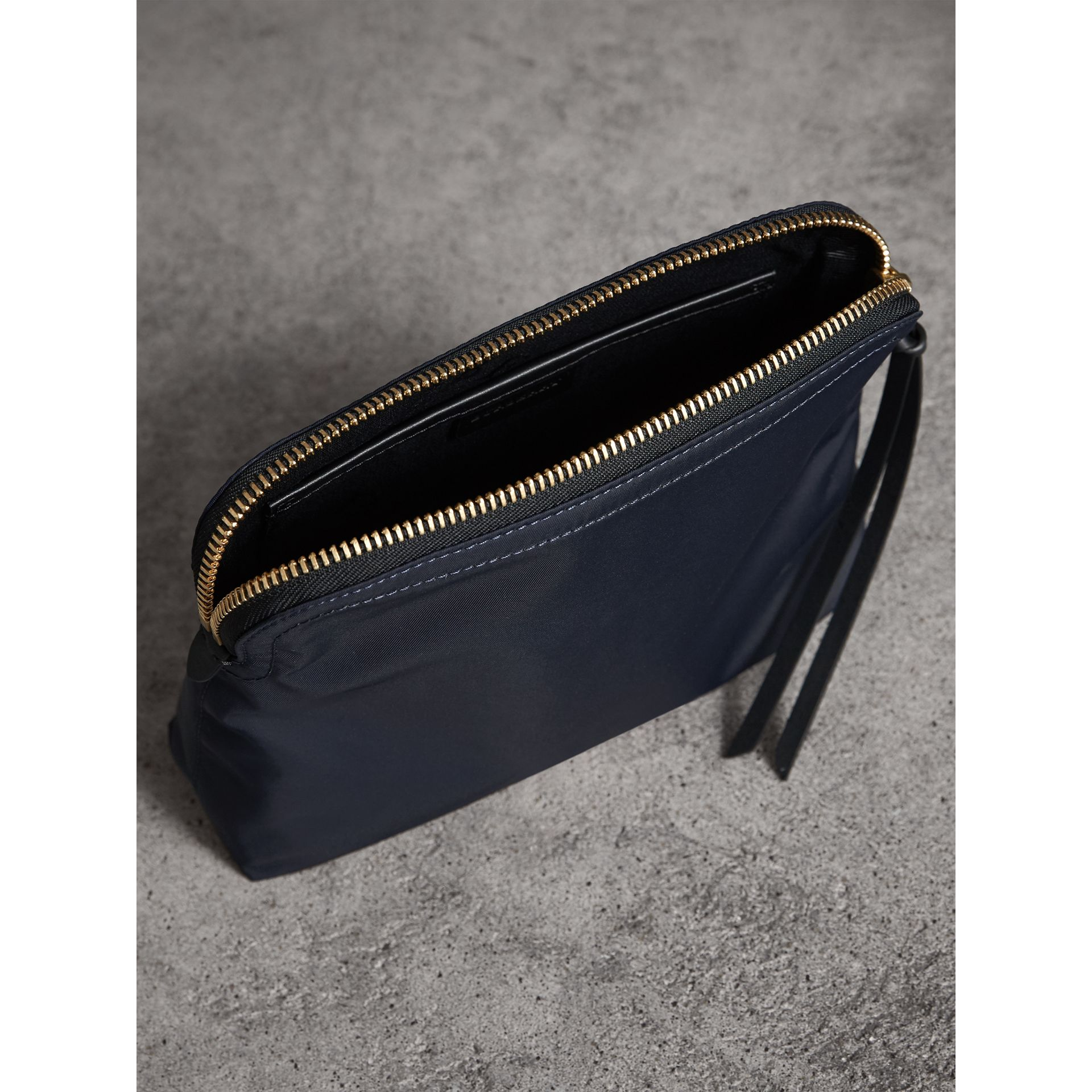 Large Zip-top Technical Nylon Pouch in Ink Blue - Women | Burberry - gallery image 4