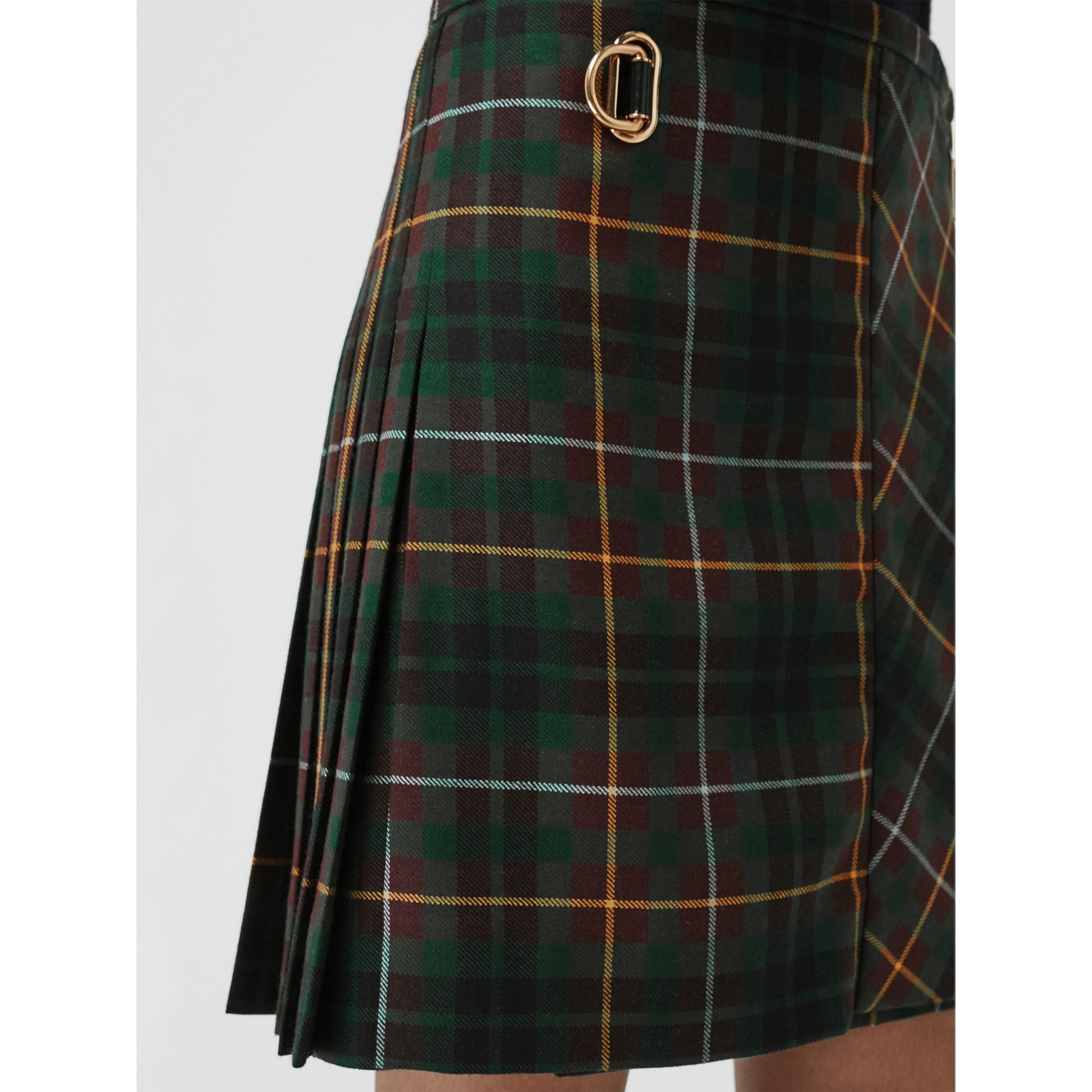Tartan Wool Mini Kilt in Pine Green - Women | Burberry - gallery image 4