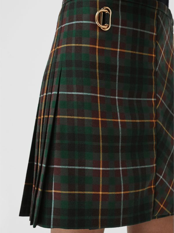 Tartan Wool Mini Kilt in Pine Green - Women | Burberry - cell image 3
