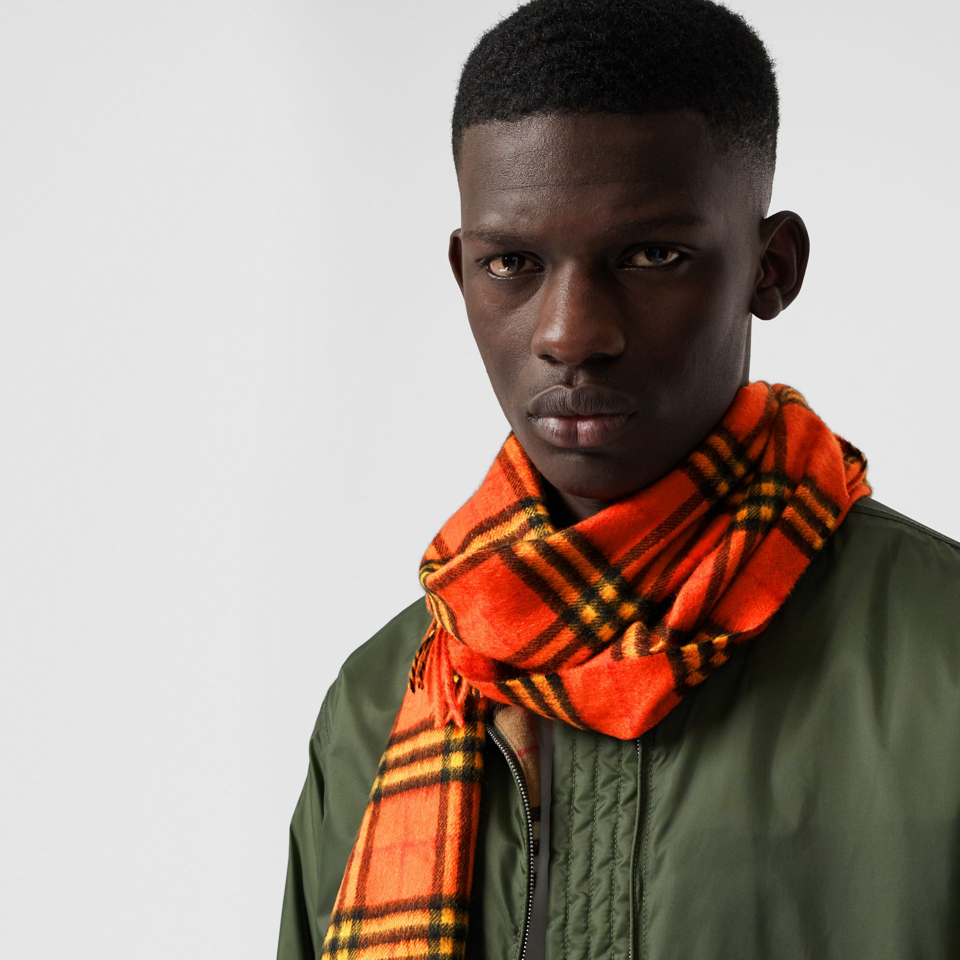 The Classic Vintage Check Cashmere Scarf in Orange | Burberry United Kingdom - gallery image 6
