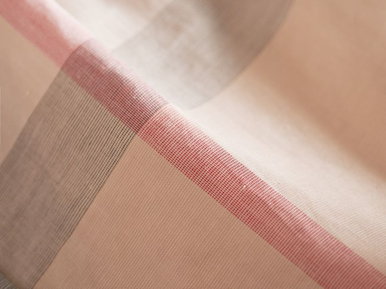 Peter Pan Collar Pintuck Detail Check Cotton Top in Pale Stone | Burberry - cell image 1