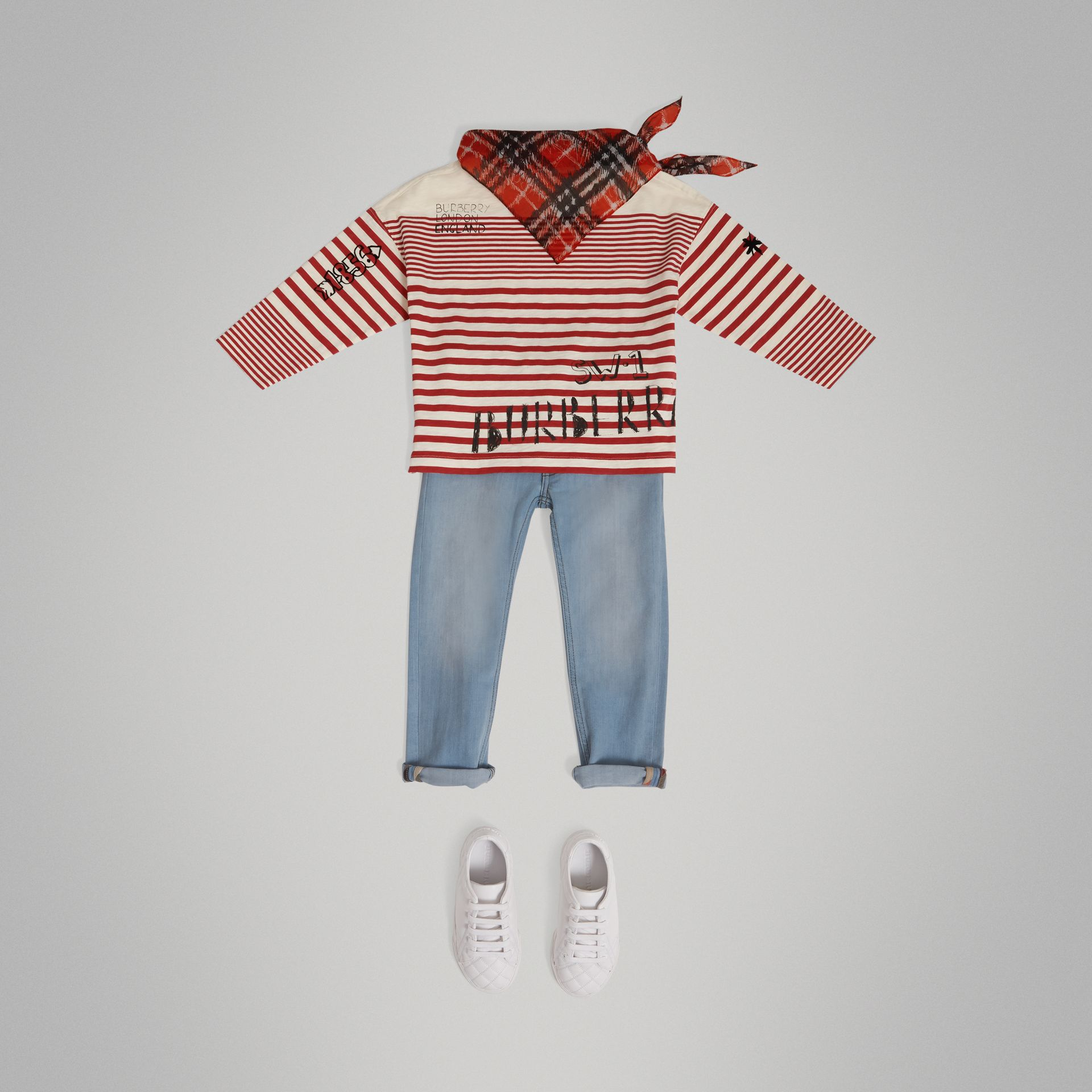 SW1 Print Striped Cotton Top in Bright Red/natural White - Boy | Burberry United Kingdom - gallery image 2