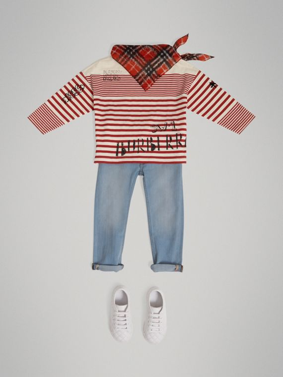 SW1 Print Striped Cotton Top in Bright Red/natural White - Boy | Burberry - cell image 2