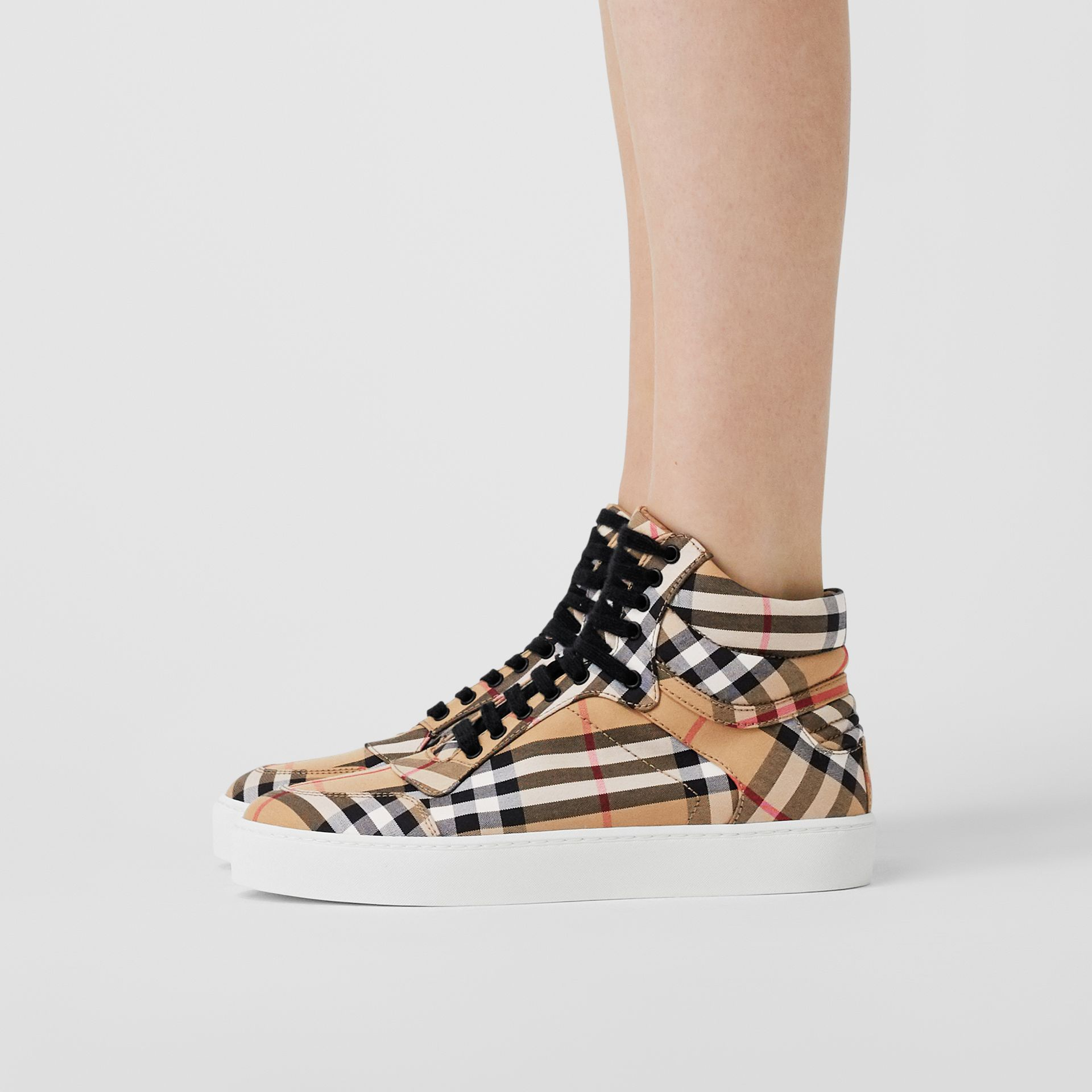 Vintage Check Cotton High-top Sneakers in Antique Yellow - Women | Burberry Singapore - gallery image 2
