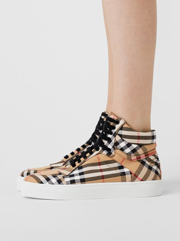 Vintage Check Cotton High-top Sneakers in Antique Yellow - Women | Burberry United States - cell image 2