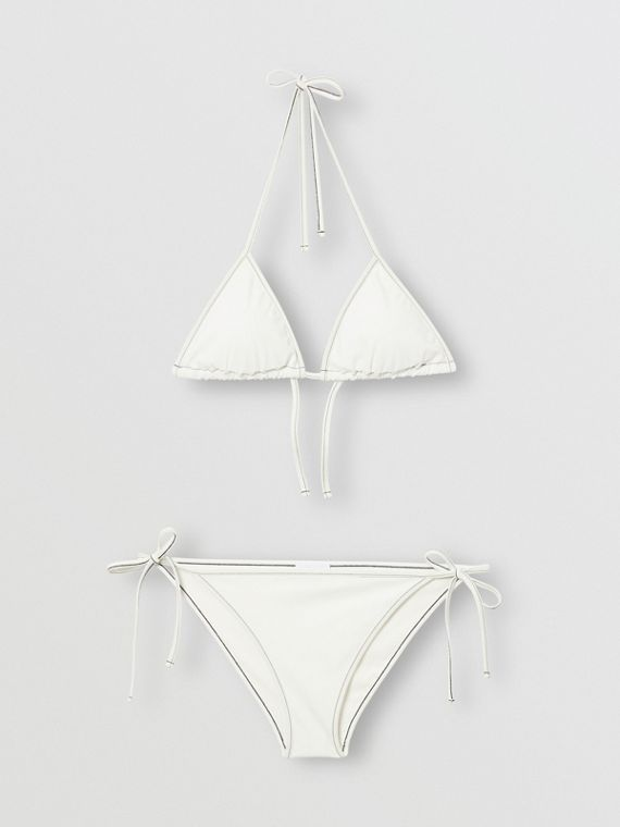 Logo Detail Triangle Bikini in White