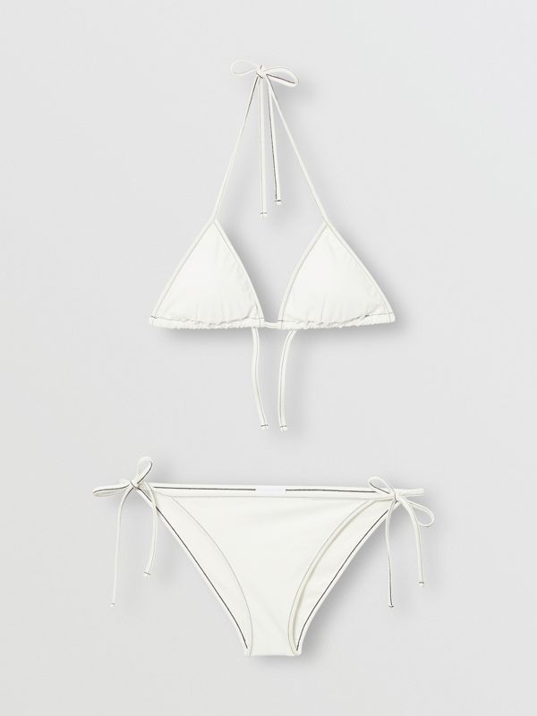 Logo Detail Triangle Bikini in White | Burberry - cell image 3